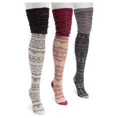 Muk Luks Women's 3 Pair Pack Microfiber Over the Knee Socks - Multicolor One Size Fits Most, Multi-Colored