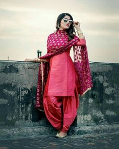 Reddish Punjabi patiala salwar suit - with kanchan phulkari dupatta - unstitched dress material Salwar Designs, Patiala Suit Designs, Kurta Designs Women, Kurti Designs Party Wear, Stylish Dress Designs, Stylish Dresses, Stylish Suit, Punjabi Fashion, Indian Fashion
