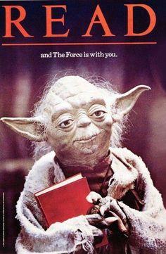 Día Internacional de Star Wars, una celebración no oficial que se repite organizadamente desde 2011 (cartel de Yoda invitando a la lectura de 1983). https://www.veniracuento.com/