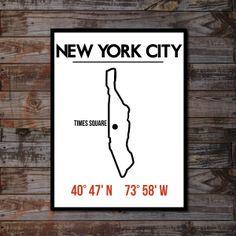 "New York Poster - Manhattan Artwork - Typography Poster Print - City Map Art - Home Decor - Gift - 18"" x 24"". $35.00, via Etsy."