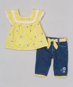 Yellow Floral Top & Blue Denim Pants - Girls by Nannette Girl #zulily #zulilyfinds