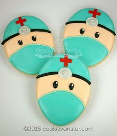 Operating room cookies using an egg shaped cutter.
