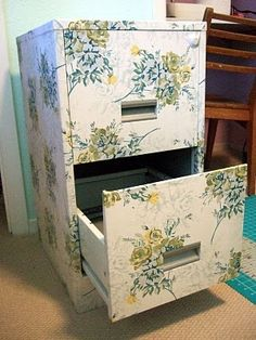 a little fabric, a little modge podge Make a filing cabinet look fancy.