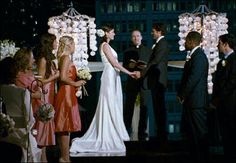 LOVE this gown Michelle Monaghan wore in this movie, 'Made of Honor'! Movie Wedding Dresses, Wedding Movies, Wedding Scene, Wedding Bride, Wedding Day, Wedding Bells, Wedding Reception, Wedding Stuff, Purple Wedding