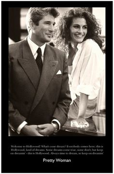 Pretty Woman starring Julia Roberts and Richard Gere, movie, celeb, photograph, black and white, love, shopping, What's your dream?