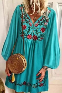 V Neck Floral Embroidery Loose Mini Dress – shopingnova Casual Outfits For Teens, Business Casual Outfits, Mom Outfits, Fall Outfits Pinterest, Iranian Women Fashion, Hippy Chic, Plus Dresses, Indian Outfits, Cotton Dresses