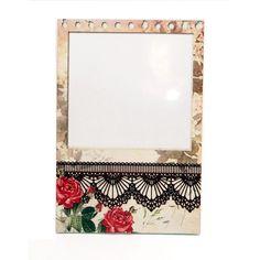 Lousa magnética para recados e porta retratos. Estilo vintage e Shabby Chic, um presente especial e elegante. R$79,90