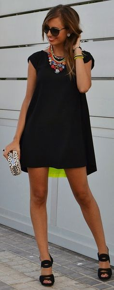 Little Black Dress with Neon Pleat Back