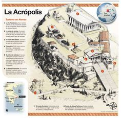 LA ACRÓPOLIS DE ATENAS - Infografía- Greek History, World History, Ancient History, Art History, Parthian Empire, Greece Map, Rome City, 17th Century Art, Guernica