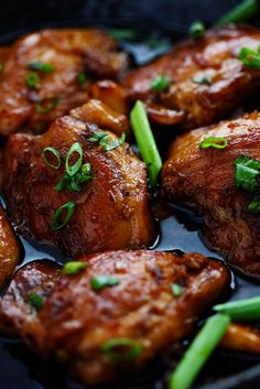 It is a sweet caramelly teriyaki glaze.The skillet gave it a golden brown crust along the outside. It thickened up and literally just glazed the chicken.