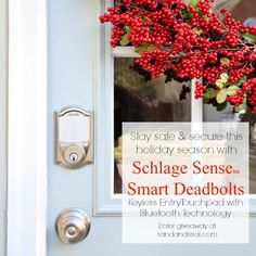 Stay safe, secure, and stylish this holiday. Click the pic to enter the Schlage Sense Smart Deadbolt + Matching handset Giveaway. Lock and unlock your door with your iOS device! #ad #schlagesense