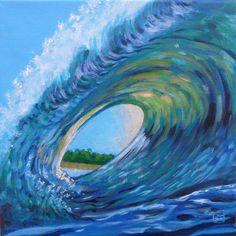 SURFER-Dekoration Kunstdruck  Blaue Welle , Leinwand quadratisch, Strand, Tunnel