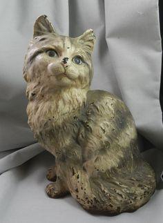 Antique Hubley Persian Cat Cast Iron Doorstop Door Stop