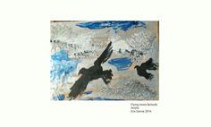 Crows and clouds  Cuervos y nubes  Mix tech.acrilyc canvas  Técnica mixta de acrílico