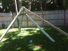 enter image description here -A-Frame Swing Wooden Swing Set Plans, Build A Swing Set, Wood Swing Sets, Porch Swing Frame, Diy Swing, Bench Swing, Backyard Swings, Backyard For Kids, Porch Swings