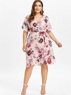 4246338d502 Ruffle Sleeve Plus Size Floral Surplice Dress