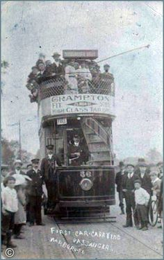 (5) Leicester Past & Present ~ A walk down Memory Lane. 1st Electric Tram Car carrying passengers, Narborough Road ~ Postcard from 1904.