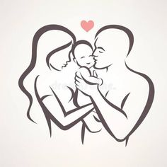Illustration about Happy family stylized vector symbol, young parents and child. Illustration of romantic, line, sketch - 76612325 Pencil Art Drawings, Art Drawings Sketches, Easy Drawings, Tattoo Famille, Father And Baby, Mother And Baby Tattoo, String Art, Line Drawing, Clipart