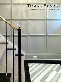 Stairs glass railing beautiful Ideas for 2019 Black Stair Railing, Stair Handrail, Staircase Railings, Staircase Design, Staircases, Black Stairs, Glass Railing, Stair Art, Wall Trim