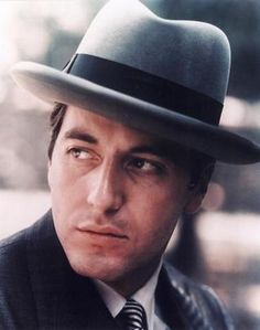 "Al Pacino wearing a homburg hat in ""The Godfather"" Francis Ford Copolla) Homburg, The Godfather, Young Al Pacino, Don Corleone, Coppola, Cinema Tv, Photo Portrait, Actrices Hollywood, Hollywood Stars"