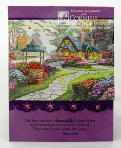 #Thomas Kinkade card using Make a wish cottage stamp available from Cornish Heritage Farms.  Colored with Copic markers. by #Kristine Reynolds