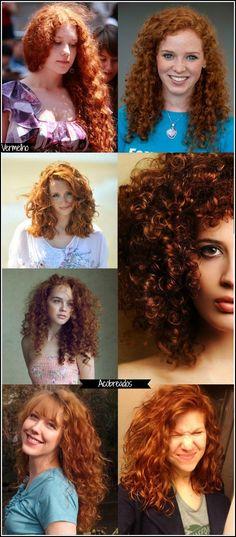 Eu acho lindo cabelo ruivo, principalmente no tom acobreado, mas o strawberry blonde também é incrível. Além desses, outros dois bem famosos são o vermelho e o fantasia.