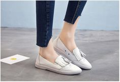 >> Click to Buy << Fashion 2017 Genuine Leather women flats Casual Fringe women's Loafers Summer new Round Toe Flat women Fresh walking shoes #Affiliate