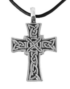 Pewter Celtic Cross with Irish Knot Design Pendant, Leather Necklace