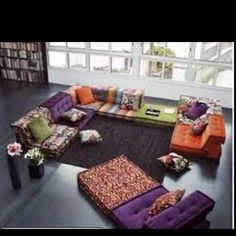 Collected cushions floor couch! Awesome for a moroccan themed room.