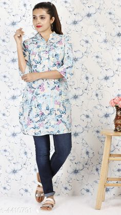 Tops & Tunics Stylish women's Tunic Fabric: Polyester Sleeves: Sleeves Are Included Size: S- 36 in M- 38 in L- 40 in XL- 42 in XXL- 44 in Length: Up To 38 in Type: Stitched Description: It Has 1 Piece Of Tunic Work: Printed Country of Origin: India Sizes Available: S, M, L, XL, XXL   Catalog Rating: ★4 (550)  Catalog Name: Alana Voguish Tops & Tunics Vol 3 CatalogID_634534 C79-SC1020 Code: 613-4410791-057