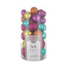 Large shatterproof Christmas baubles multi colour mix 44 pieces