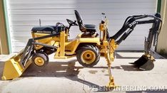 Do-it-yourself CAD Plans by P. Loaders, Backhoes for garden tractors, log splitters. Sample pictures and videos of those. Small Tractors, Compact Tractors, Small Garden Tractor, Wheel Horse Tractor, John Deere 400, John Deere Garden Tractors, Garden Tractor Attachments, Homemade Tractor, Tractor Accessories