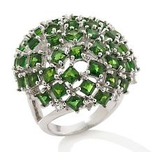 Colleen Lopez 8.97ct Chrome Diopside & White Topaz Ring