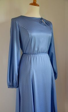 Dusky blue polka dot vintage slip dress with tie neck and belt long sleeves 50's, 60's, 70's