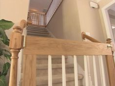 Maybe this will work for my open rail stairs! How to Build a Customized Baby Gate : How-To : DIY Network Diy Baby Gate, Baby Gates, Dog Gates, Pet Gate, Kids Gate, Stair Gate, Stair Railing, Baby Boy, Up House