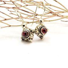 Small garnet earrings sterling silver retro earrings garnet