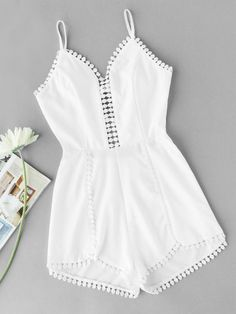 Shop Crochet Trim Asymmetric Hem Cami Romper at ROMWE, discover more fashion styles online. Cute Summer Outfits, Cute Casual Outfits, Stylish Outfits, Girls Fashion Clothes, Teen Fashion Outfits, Girl Outfits, Fashion Mode, Girl Fashion, Fashion Black