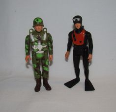 "VINTAGE 80s MILITARY ONE 3 3/4"" ACTION FIGURES ~ FROGMAN ~ PARATROOPER ~ GI JOE"
