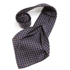 Petronius 1926 italian handmade navy with brown rectangles 5 fold silk tie 8,5 cm ( art. 485 ), $149