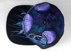 Galaxy Jellyfish Hand-painted Snapback Hat Blue by MANIKapparel
