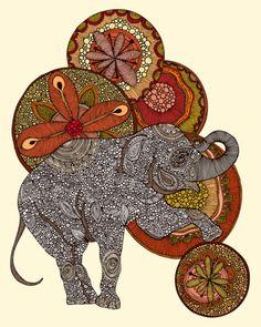 brown zentangle elephant