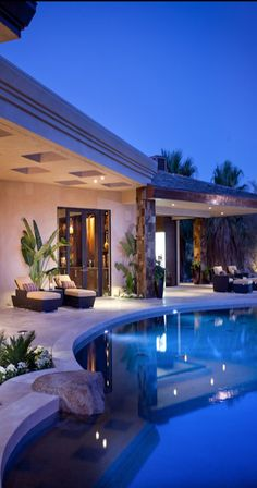 Has a serene & relaxing feel; aesthetically pleasing...          - great back patio/deck area and pool.