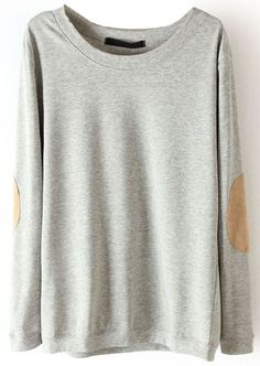 Grey Long Sleeve Elbow Patch Pullover Sweater US$28.06 - perfect for those cozy fall days!