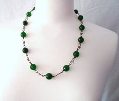 Green Jade and Antique Bronze Wire Necklace
