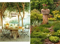 Repurpose your tree stumps. | 32 Cheap And Easy Backyard Ideas That Are Borderline Genius