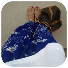 Outfit of Day:24/7 #oysho pants #zara sandals #louis_vuitton_noe bag #fashion #women's fashion #ootd
