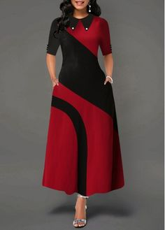 Summer A Line Color Block Office Dress Elegant Women Peter Pan Collar Half Sleeve African Lady Work Wear Long Maxi Dress Female Office Dresses, Embellished Dress, Colorblock Dress, Striped Dress, Women's Fashion Dresses, Dresses Dresses, Party Dresses, Formal Dresses, Wedding Dresses