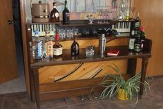 repurposed piano bar ... could be!  OMG I FINALLY found ideas that work for my lug of a piano!
