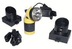 This Streamlight rechargeable Syclone flashlight system comes complete with battery, AC 120v (home) and DC 12v (car lighter) chargers/holders.