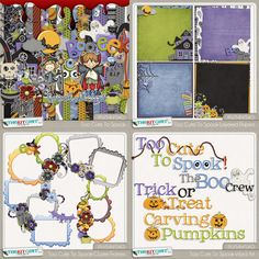 Digital Scrapbooking Studio Too Cute To Spook Bundle - The Too Cute To Spook Bundle includes the Kit, Word Art, Cluster Frames and the Layered Papers. All items are saved at 300 dpi and papers are sized at 12x12.